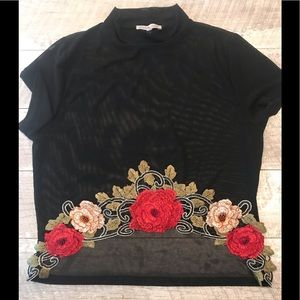 Charlotte Russe Sheer Floral Crop Top Size L